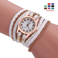 Wholesale New Perfect Fashion Sloggi women s bracelet quartz watch woven three coil Imitation leather Multi layer strap Metal buckle