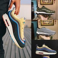 Wholesale Green Crystal Shoes - Wholesale High Quality 97 Sean Wotherspoon SUndefeated x Olive Green 97s Crystal diamond Men Running Shoes Man Athletic Sneakers Sport Shoes