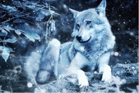 Wholesale wolf landscape paintings resale online - Full Square Round Drill D DIY Diamond Painting quot Wolf quot Embroidery Cross Stitch Mosaic Home Decor Art Experience toys Gift A0060