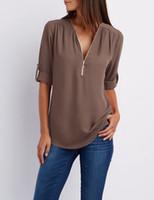 şifon bluz şeker toptan satış-Kadın Şifon Gömlek Yaz Kadın Üstleri Ve Bluzlar Fermuar V Yaka Puf Uzun Kollu Bluz 5xl Artı Boyutu Gömlek Pembe 17 Şeker Renk