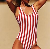 plaj kıyıları toptan satış-2018 Kadın Mayo Tek Parça Mayo Kadın Şerit Bikini Şınav Tulum Yelek Monokini Mayo Plaj Bather Yaz Yastıklı Yüzmek Aşınma