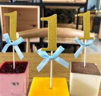 festliche geburtstagskuchen großhandel-Neue Festliche Erster Geburtstag 1. Jahr Cupcake Toppers mit Glitter Papier Junge Mädchen DIY Geburtstagsparty Kuchen Dekoration Versorgung
