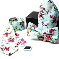 krawatten schlank 6cm großhandel-6cm Baumwolle Krawatten für Männer Fliege Taschentuch Geschenkbox Butterfly Slim cravate pour homme corbata Skinny Herren Krawatte Einstecktuch Bowtie Set