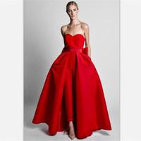 özel pantolon bayan giysileri toptan satış-2018 Krikor Jabotian Kırmızı Tulumlar Abiye Ayrılabilir Etek Ile Sevgiliye Balo Abiye Custom Made Pantolon Kadınlar için Iki Adet Suits
