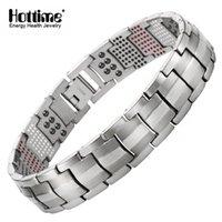 Wholesale gold bracelets for health - Hottime Men Jewelry Healing magnetic Bangle Balance Health Bracelet Silver Pure Titanium Bracelets Special Design for Male 10212