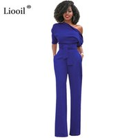 Wholesale Women One Leg - Liooil One-Shoulder Sexy Jumspuit Half Sleeve Irregular Collar Sashes Buttons Wide Leg Jumpsuits Blue Women Rompers Overalls