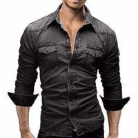 gündelik gömlek denim mens toptan satış-Erkekler Gömlek Marka Erkek Uzun Kollu Gömlek Casual Düz Renk Denim Slim Fit Gömlekler Erkek 3xl