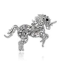 верховая брошь горный хрусталь оптовых-Уникальный Элегантный Брошь Единорог Лошадь Rhinestone Кристалл Брошь Булавка