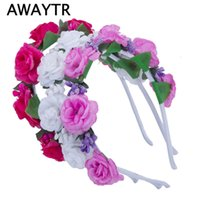Wholesale Flower Wreath Tiara Wholesale - AWAYTR Girls Hair Accessories Flower Hairband Bridal Wedding Girls Headwear Boho Wreath for Kids 2017 New Head Tiara Garland