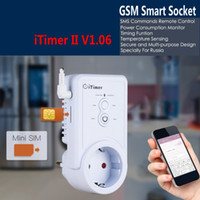 Wholesale Gsm Sms Remote Control - GSM Power Plug Socket With Temperature Sensor Intelligent Temperature Control Russian English SMS Remote Control Samrt Switch Outlet Ann