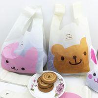 Wholesale plastic cookie bags wholesale - 20pcs lot 15*28cm cute bear and rabbit vest handles cookie packaging plastic bags