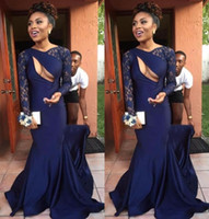 Wholesale Sexy Size 18 Dresses - Sexy 2K 18 Prom Dresses Long Sleeves 2018 Formal Evening Gowns Lace Mermaid SweepTrain Satin Black Girls Party Gowns