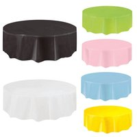 Wholesale Plastic Tablecloth Decorations - Disposable Round Birthday Party Table Cloth Pure Color Waterproof Round Plastic Table Cover Tablecloth 213*213cm ZA6200