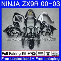 kawasaki ninja zx9 carenagem venda por atacado-Corpo para KAWASAKI NINJA ZX 9R 9 R ZX 900 ZX9R 00 01 02 03 216HM.0 ZX900 900CC ZX9 R ZX-9R 2000 2001 2002 2003 Carenagem Kit Preto CORONA branco