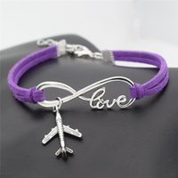 Wholesale airplane bracelets resale online - Vintage Silver Infinity Love Airplane Aircraft Bracelet Bangles for Women Men Purple Leather Suede Rope Charm Adjustable Jewelry Accessories
