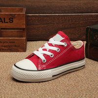 Wholesale Styles Shoes Boys - 2018 style wholesale classic canvas shoes kids fashion high - low shoes boys and girls sports canvas and sports children shoes conver gift