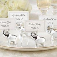 números de mesa al por mayor-Silver Baby Elefante Place Card Holder Número de la tabla Clip de almacenamiento de fotos para el banquete de boda Decoraciones de mesa Suministros favores Regalos