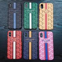 Wholesale stripe iphone hard case online - Letter LOGO GOYA Luxury brand diamond stripe phone case shell for iphone Xs max Xr X plus plus plus hard back cover