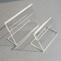 ingrosso stand a forma di l-Acrilico T1.3mm chiaro plastica tavolo segno prezzo etichetta etichette display carta promozione titolari di carta piccola L forma stand 50 pz