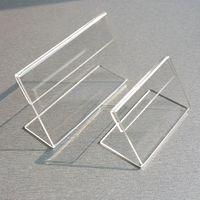 preisanzeige inhaber großhandel-Acryl T1,3mm Durchsichtigen Kunststoff Tischschild Preisschild Label Display Papier Förderung Kartenhalter Kleine L Form Steht 50 stücke