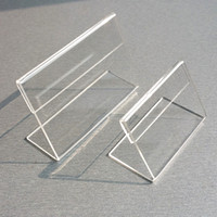 acryl display zeichenhalter großhandel-Acryl T1.3mm Klar Kunststoff Tisch Zeichen Preisschild Label Display Papier Förderung Kartenhalter Kleine L Form Steht 50 stücke