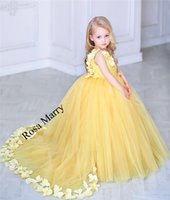 flower birthday party for kids 2018 - Princess Yellow Ball Gown Flower Girls Dresses 2018 Girls Pageant First Communion Birthday Prom Party Gowns 3D Floral Kids for Weddings