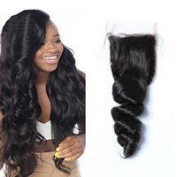 peru saçı gevşek dalga üst kapatma toptan satış-Doğal Renk Kaliteli İnsan Saç Üst Kapatma Brezilyalı Perulu Malezya İnsan Saç Kapatma Gevşek Dalga 4x4 Dantel Kapatma