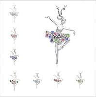 charme für weihnachten großhandel-Kristall Halsketten Weihnachten Tanzen Ballerina Tänzerin Kristall Ballett Tanz Anhänger Halskette Charme Gros Collier Femme Schmuck Frauen Schmuck