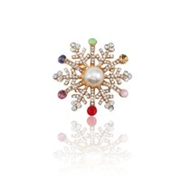 8a9aa90a762 brooches rhinestone snowflake UK - Classic Christmas Brooches For Women  Full Colorful Rhinestone Christmas Snowflake Xmas