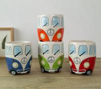 ingrosso fumetto del tè del latte-Nuovo disegno del fumetto autobus a tazze a mano pittura retro regalo tazza di ceramica del latte del caffè tazza di tè Bicchieri Novetly 1pc