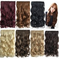 Wholesale blonde synthetic weave - New 5 clips in Hair Extensions Brown Black Blonde Auburn Synthetic Hair Extension Long Wavy Curly One Piece Hair Weaving