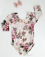 Wholesale long sleeve dance - 2017 Ins Baby Girl Spring Autumn Romper Baby Long Sleeve Backless Floral Jumpsuit Playsuit Dance Romper Sunsuit