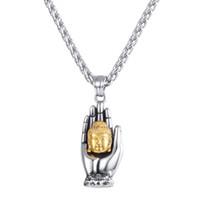 pendent halsketten großhandel-Unisex Edelstahl Palm Buddhahead statue Pendent Halskette Religiöse Pray kette schmuck Zubehör