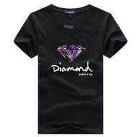 5xl hip hop gömlek toptan satış-Mens T Gömlek Moda Kısa Kollu T Gömlek Kaykay Marka Giyim Kalça Hop Elmas Baskılı Yeni Yaz Pamuk Erkek Tee Tops Streetwear