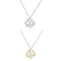 Wholesale collar necklace for sale - 2018 New Fashion Pretty Lotus Flower Pendant Chain Necklace Fashion Hollow Choker Necklaces For Women Collar Jewelry