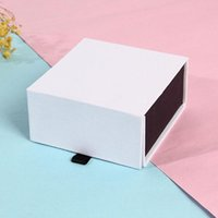 paperboard box wholesale 2021 - Jewelry Box Paperboard Earring Box with Magnetic Ring Display Sponge Box Necklace White Gift Packaging Case ZA5702