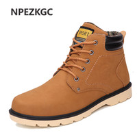 Wholesale casual work boots for men - NPEZKGC Men Leather Boots Autumn Winter High Style Waterproof Fashion Outdoor Work Shoes Casual Martin Boot For Man