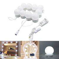 Wholesale touch wall dimmer led - LED Vanity Mirror Lights Kit Style Makeup Mirror Lights 10 Led Bulbs Fixture Strip for Makeup Vanity Table Set Dimmer Power Supply