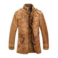 Wholesale Leather Bomber Jacket Brown Xl - Men's Leather Jacket Fashion Brand High Quality Fleece Lined Motorcycle Bomber Faux Leather Coats Male Outerwear