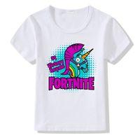 детская одежда поло оптовых-fortnite стиль мода дети дизайнер одежды 2018 дети девочки мальчики одежда мальчики дети поло рубашка печатных catoon единорог детские летние футболки
