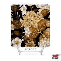 Wholesale print fabric china resale online - MIAOJI Royal Luxury Classic China Red Flowers Printed Waterproof Fabric Shower Curtain Bathroom Screens Curtains
