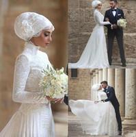 Wholesale Islamic Muslim Wedding Dresses - 2018 High Neck Wedding Dresses Bridal Gowns Lace Long robe de mariage Long Sleeves Muslim Bridal Gowns Islamic Arabic Wedding Dresses