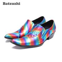 Wholesale korean oxford shoes - Korean Fashion Mens Shoes Bright Muti Color Leather Shoes Men with Rivets 6.5cm High Heels Zapatos Hombre Party Wedding Shoes, Big Size US12