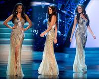vestidos gala se pierde al por mayor-Vestido Señorita Vestidos de noche árabes Sirena Oro Ranura lateral Cristal con cuentas Encaje de tul Vestidos de gala Vestidos de celebridades Sirena Vestidos de baile