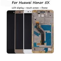 huawei honor livraison gratuite achat en gros de-Assemblée en verre à écran tactile de numériseur + écran tactile haute qualité pour Huawei Honor 5X téléphone 5.5