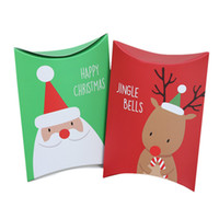 Wholesale Party Food Boxes - Pillow Shape Christmas Candy Box Party Gift Favor Santa Claus Chocolate Cookies Food Paper Boxes Wrap wen5079