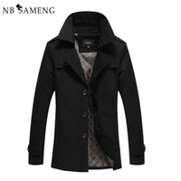 Wholesale Black Trenchcoat - 2017 Brand Casual Spring Autumn Long Men Trench Brand Overcoat Clothing Classic Trenchcoat Short Coat 4XL NSWT139