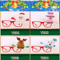 óculos fantasia vestido venda por atacado-Óculos de natal papai noel boneco de neve óculos de armação de óculos espetáculos partido fancy dress traje acessório prop presente le69