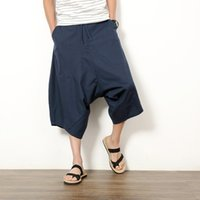 pantalones de entrepierna ancha al por mayor-2017 pantalones de lino de algodón japoneses pantalones de entrepierna baja pierna ancha colgando entrepierna