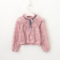 Wholesale Childrens Blouses - Vieeolove Baby Girls Shrits 2018 New Spring Childrens Long Sleeve for Kids Clothing Pentagram sailing Bow Floral Chiffon Shirt VL-196
